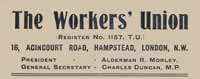 The Workers' Union Letterhead